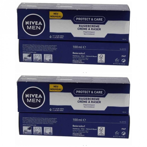 3 x Nivea Men Protect & Care Rasiercreme Rasur 100ml