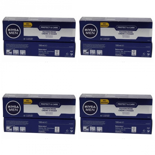 4 x Nivea Men Protect & Care Rasiercreme Rasur 100ml