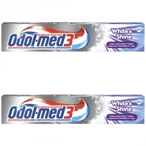 2 x Odol Med3 Zahncreme White + Shine 75ml Tube