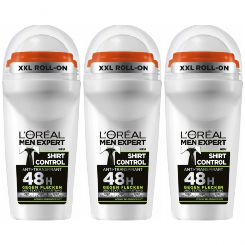 3 x LOreal Men Expert Deo Roll On Shirt Control 50ml Dose