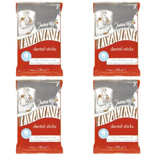4 x JedenTag Hund dental sticks 7er 180g
